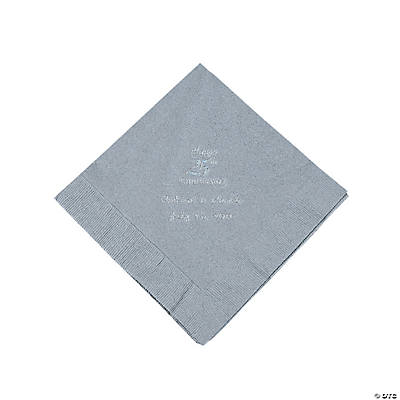 Personalized Silver on Silver 25th Anniversary Luncheon Napkins