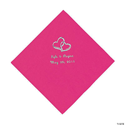 Personalized Silver Two Hearts Beverage Napkins - Hot Pink