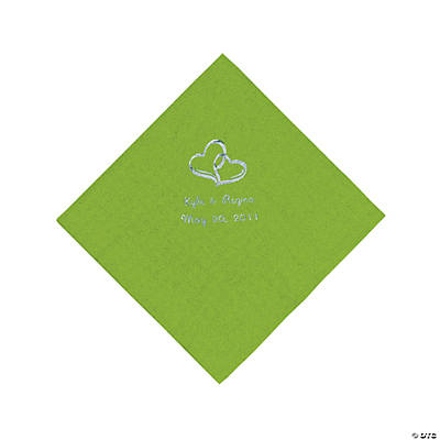 Personalized Silver Two Hearts Beverage Napkins - Lime Green