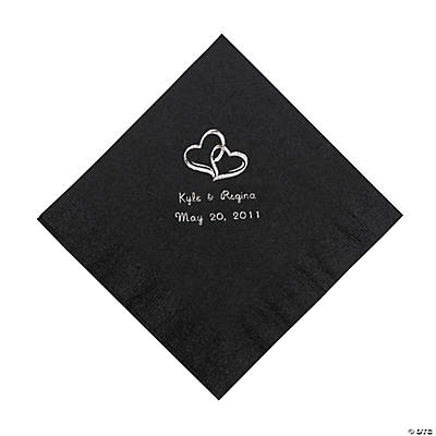 Personalized Silver Two Hearts Luncheon Napkins - Black