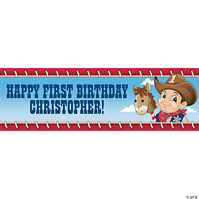 Personalized Small Cowboy 1st Birthday Banner