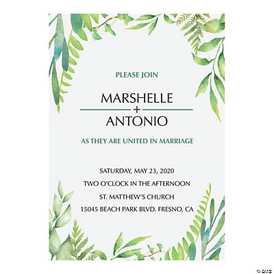 Personalized Spring Greenery Invitations