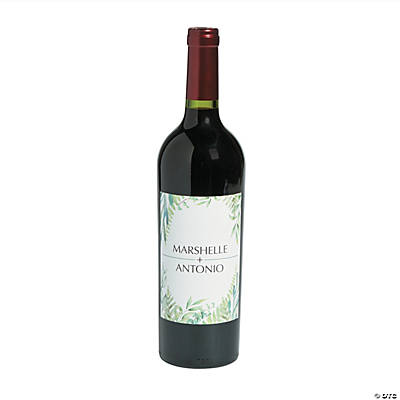 Personalized Spring Greenery Wine Bottle Labels