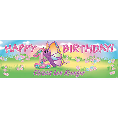 Personalized 1st Birthday Butterfly Banner - Medium