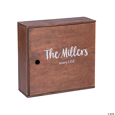 Personalized Stained Wood Keepsake Box with Lid