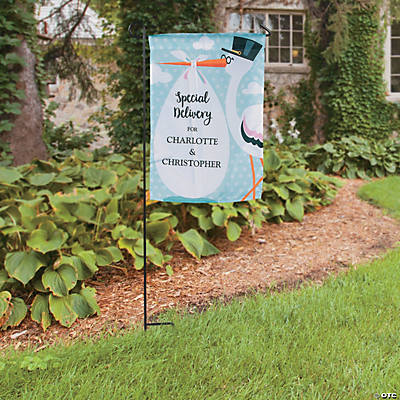 Personalized Stork Baby Shower Garden Flag