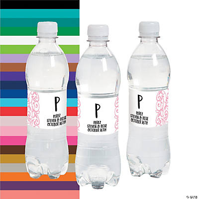 Personalized Swirl Water Bottle Labels