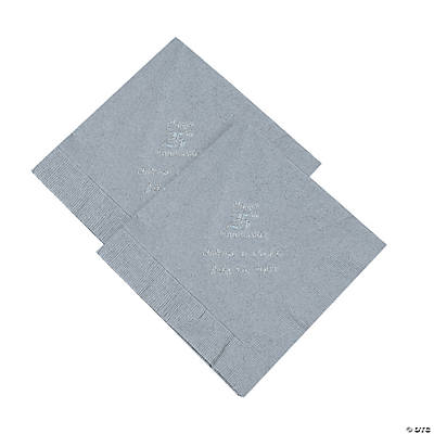 Personalized 25th Anniversary Luncheon Napkins - Silver Print