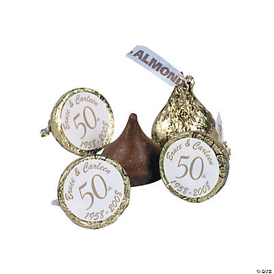 "Personalized ""50th"" Anniversary Stickers For Hershey's® Kisses®"