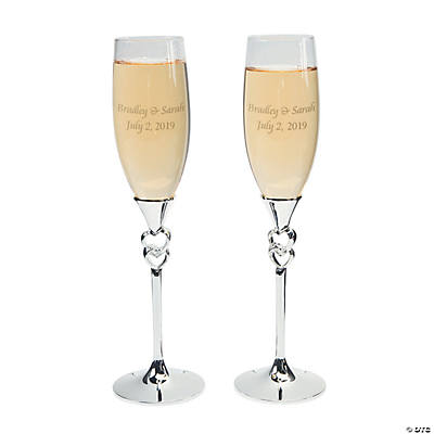 Personalized Twisted Stacked Hearts Wedding Flutes