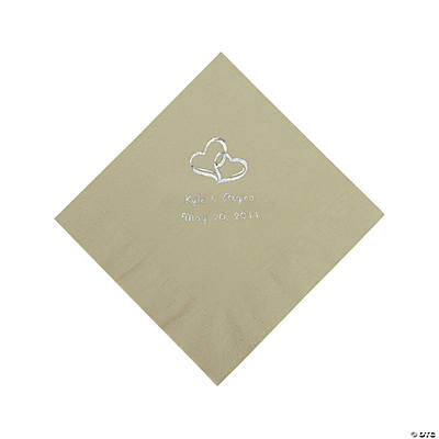 Personalized Two Hearts Beverage Napkins - Sage Green