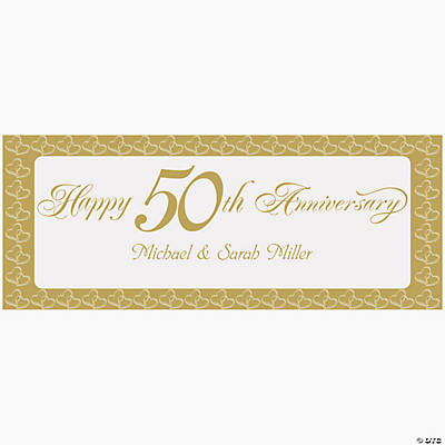 "Personalized Two Hearts ""Happy 50th Anniversary"" Banner - Small"
