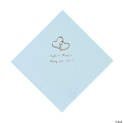 Personalized Two Hearts Luncheon Napkins - Light Blue