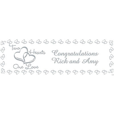 Personalized Two Hearts Wedding Banner –– Large