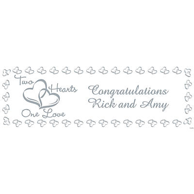 Personalized Two Hearts Wedding Banner –– Small