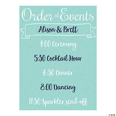 Personalized Wedding Day Timeline Sign