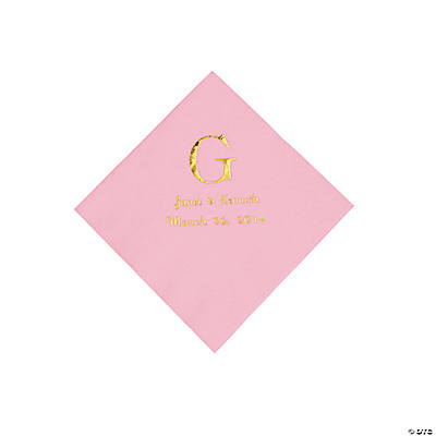 Personalized Wedding Monogram Beverage Napkins - Candy Pink