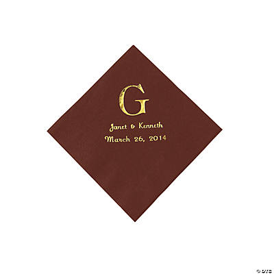 Personalized Wedding Monogram Beverage Napkins - Chocolate