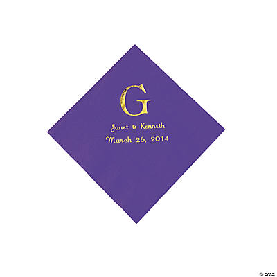Personalized Wedding Monogram Beverage Napkins - Purple