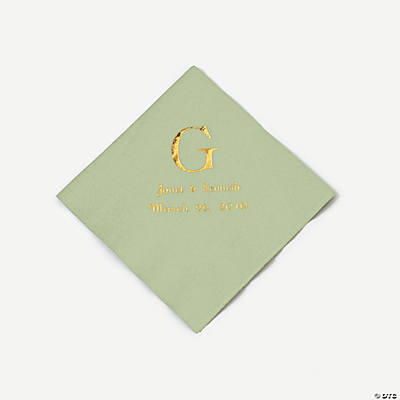Personalized Wedding Monogram Beverage Napkins - Sage