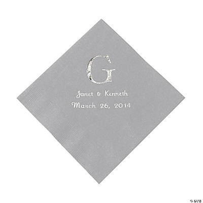 Personalized Wedding Monogram Luncheon Napkins - Silver