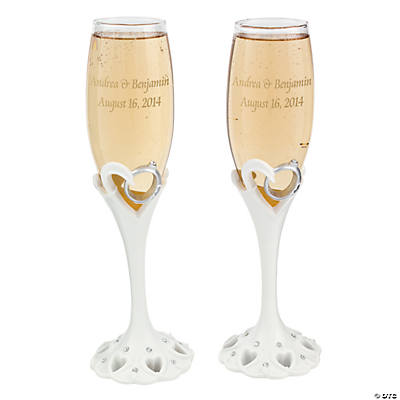 Personalized Wedding Ring Champagne Flute Set