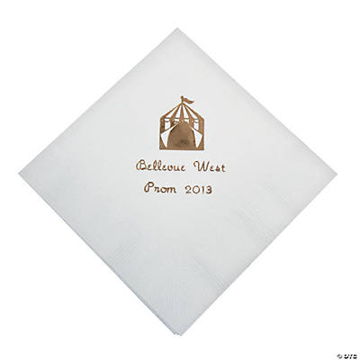 Personalized White Carnival Beverage Napkins - Gold Print