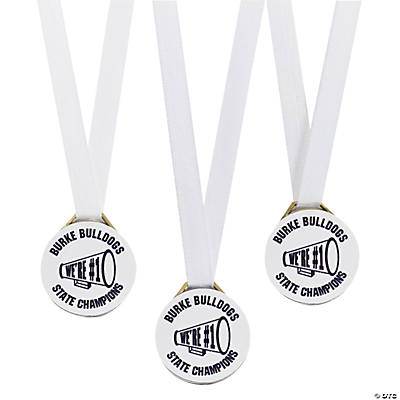 Personalized White Team Spirit Medals