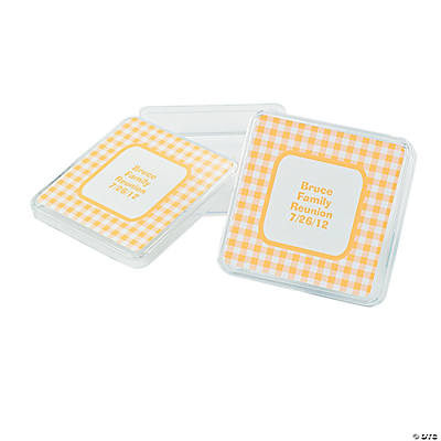 Personalized Yellow Gingham Square Favor Containers