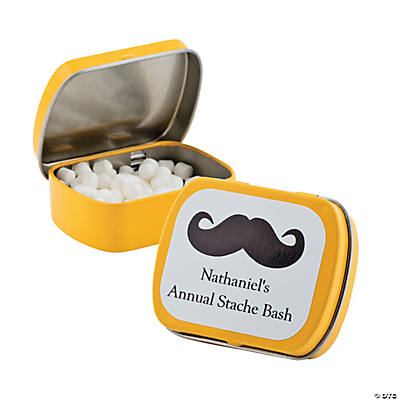 Personalized Yellow Moustache Mint Tins