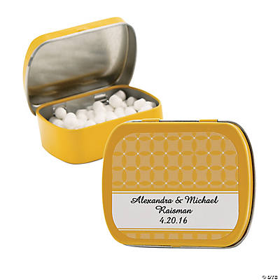 Personalized Yellow Patterned Wedding Tins With Mints