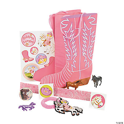 Pink Boot-Shaped Filled Treat Bags