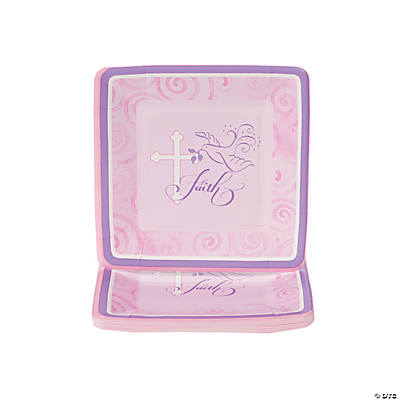 Pink Faithful Dove Dessert Plates