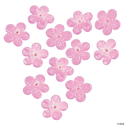 Pink Flower Lampwork Beads - 16mm