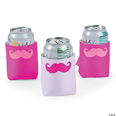 Pink Mustache Can Coolers
