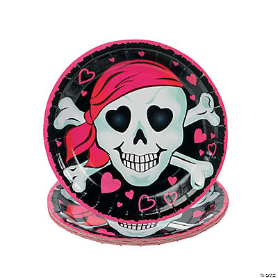 Pink Pirate Girl Paper Dessert Plates