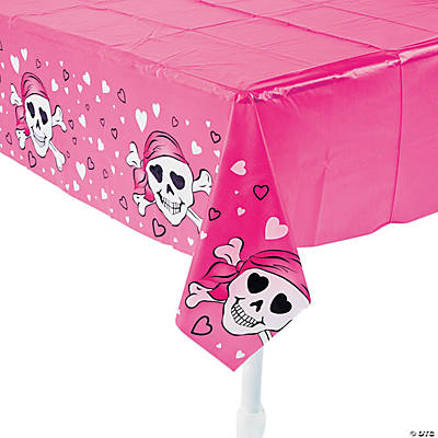 Pink Pirate Girl Plastic Tablecloth