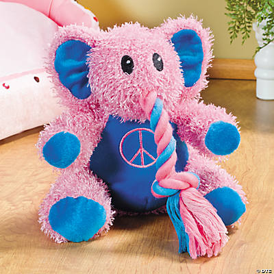 Pink Plush Elephant Squeaker Dog Toy