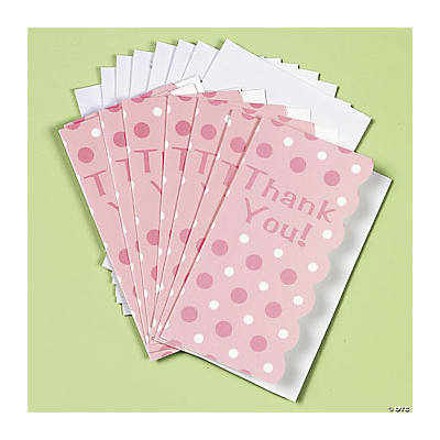 Pink Polka Dot Thank You Cards
