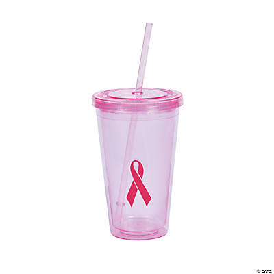 Pink Ribbon Tumbler with Straw