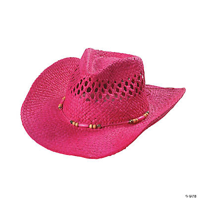 Pink Woven Western Hat