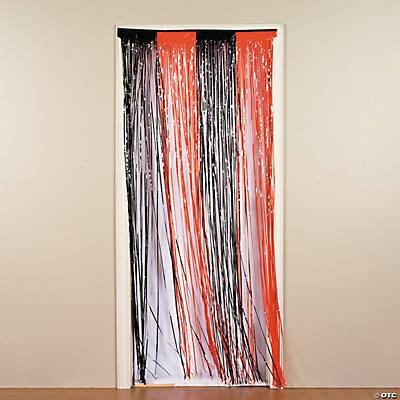 Plastic Orange U0026 Black Fringe Door Curtain