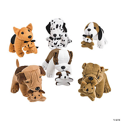 Plush Dogs Holding Puppies