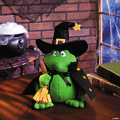 Plush Frog in Witch Hat