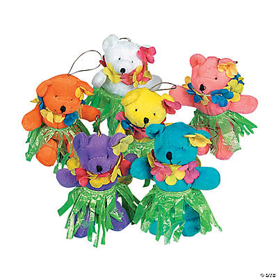 12 Plush Hula Bears with Leis & Skirts