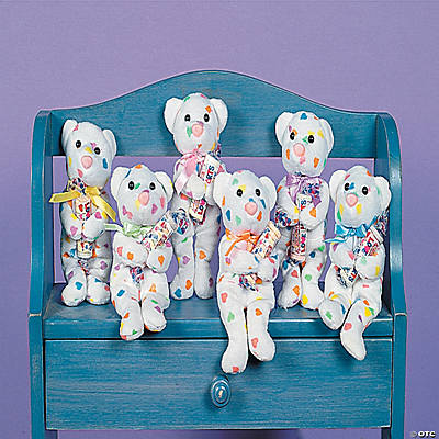 Plush Pastel Heart Bears with Smarties® Roll Candy
