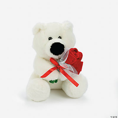 Plush Polar Bear with Roses