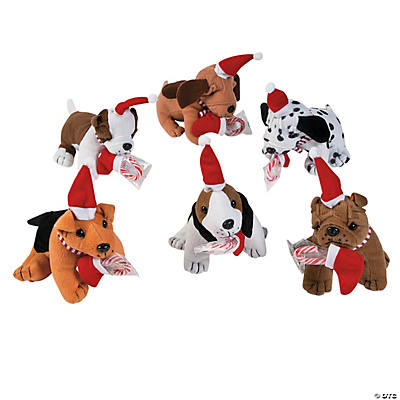 Plush Realistic Holiday Dogs with Candy Cane