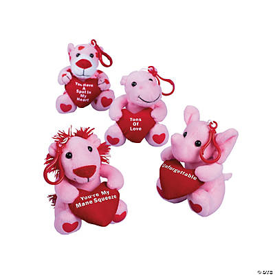 Plush Valentine Zoo Animal Key Chains