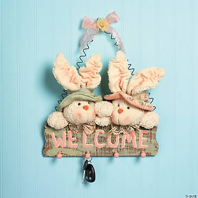 "Plush ""Welcome"" Bunny Wall Décor"